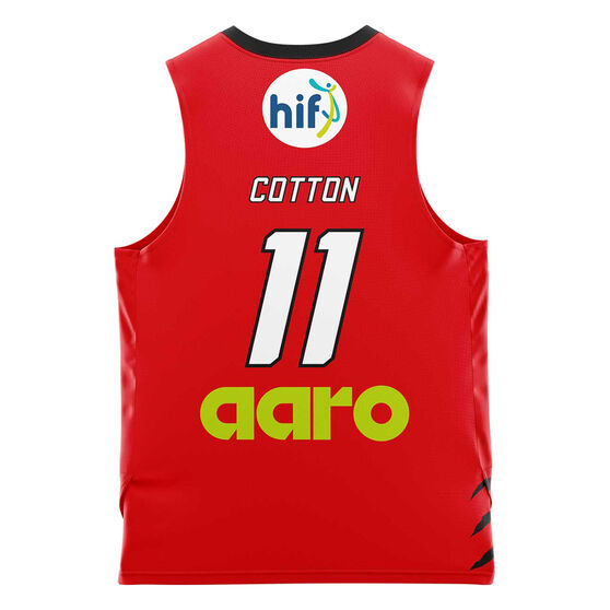 Perth Wildcats Bryce Cotton 20/21 Kids Home Jersey, Red, rebel_hi-res
