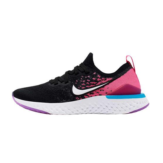 Nike Epic React Flyknit 2 Kids Running Shoes, Black / Pink, rebel_hi-res