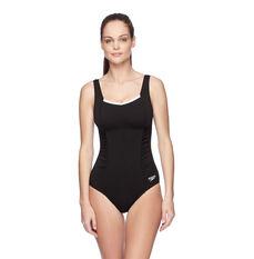 Speedo Womens Contour Motion Swimsuit Black / White 10 Adults, Black / White, rebel_hi-res