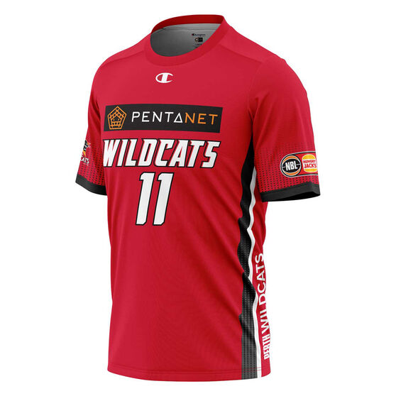Perth Wildcats Bryce Cotton Mens Shooting Tee, Red, rebel_hi-res