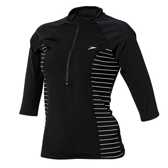 Speedo Womens Endurance Half Zip Sun Top Black / White 8, Black / White, rebel_hi-res