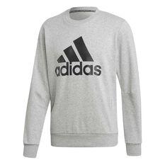 adidas Mens Must Haves Badge of Sport French Terry Crew Sweatshirt Grey S, Grey, rebel_hi-res