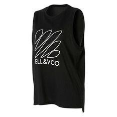 Ell & Voo Womens Taylor Logo Muscle Tank Black XS, Black, rebel_hi-res