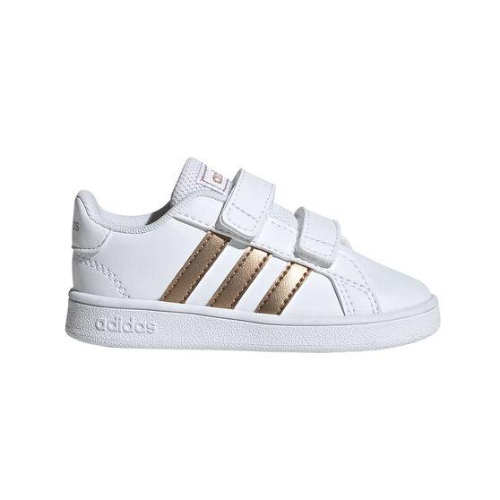 adidas Grand Court Kids Toddler Shoes, White / Gold, rebel_hi-res