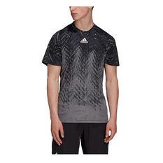 adidas Mens Tennis Primeblue Freelift Printed Tee, Grey, rebel_hi-res
