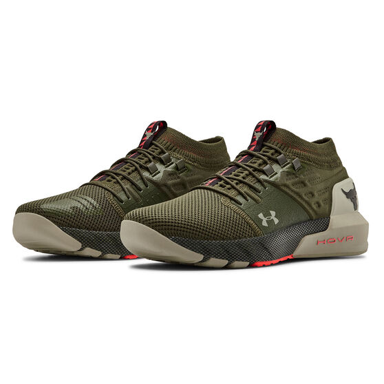 Under Armour Project Rock 2 Mens Training Shoes Green US 8, Green, rebel_hi-res