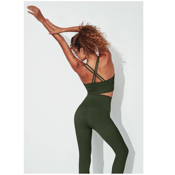 Running Bare Womens Lotus Long Line Sports Bra, Khaki, rebel_hi-res