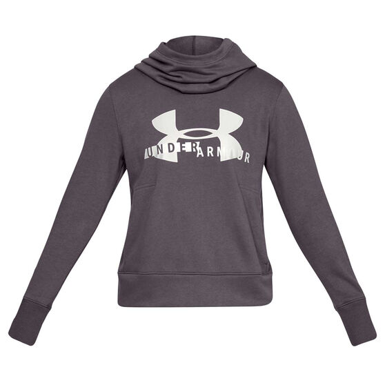 Under Armour Womens UA Rival Fleece Logo Hoodie, Grey, rebel_hi-res