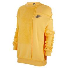 Nike Womens Sportswear Icon Clash Fleece Sweatshirt Yellow XS, Yellow, rebel_hi-res