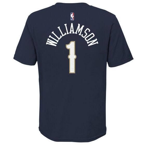 Nike New Orleans Pelicans Zion Williamson 2020/21 Kids Statement Tee, Navy, rebel_hi-res