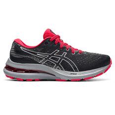 Asics GEL Kayano 28 Kids Running Shoes Black/White US 1, Black/White, rebel_hi-res