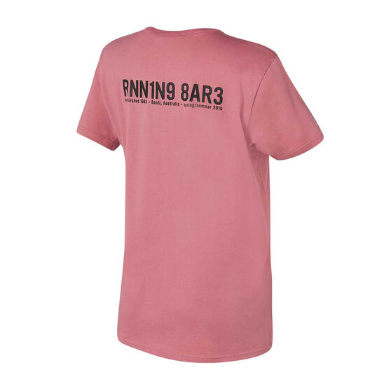 Running Bare Womens The Perfect Heritage Crew Tee, Pink, rebel_hi-res