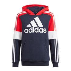 Adidas Boys Colourblock Hoodie Navy 4, Navy, rebel_hi-res