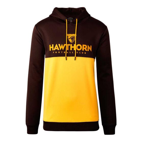 Hawthorn Hawks 2020 Mens Ultra Hoodie Brown/Yellow L, , rebel_hi-res
