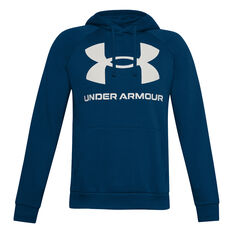 Under Armour Mens Rival Logo Fleece Hoodie Blue XS, Blue, rebel_hi-res