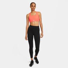 Nike Air Womens Dri-FIT Swoosh Medium Support Keyhole Sports Bra, Orange, rebel_hi-res