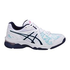 Asics Gel Netburner Academy 7 Womens Netball Shoes White / Blue US 7, White / Blue, rebel_hi-res
