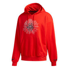 adidas Mens Donovan Mitchell Basketball Hoodie Red S, Red, rebel_hi-res