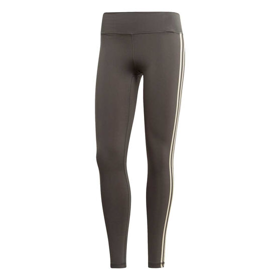 adidas Womens Believe This 3 Stripes Tights, Grey, rebel_hi-res