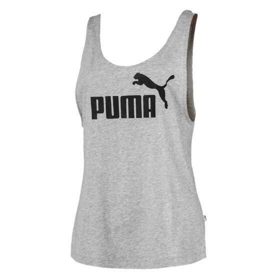 Puma Womens Essentials Logo Tank, Grey, rebel_hi-res