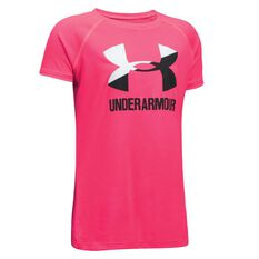 Under Armour Girls Solid Big Logo Tee Pink / White XS, Pink / White, rebel_hi-res
