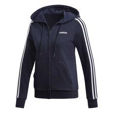 adidas Womens Essentials 3 Stripes Full Zip Hoodie Navy / White XS, Navy / White, rebel_hi-res