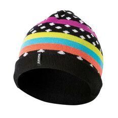 SVNT5 Girls Stripe Marle Beanie Black OSFA, , rebel_hi-res