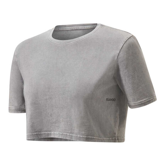 Ell & Voo Girls Rocky Cropped Tee Grey 4, Grey, rebel_hi-res
