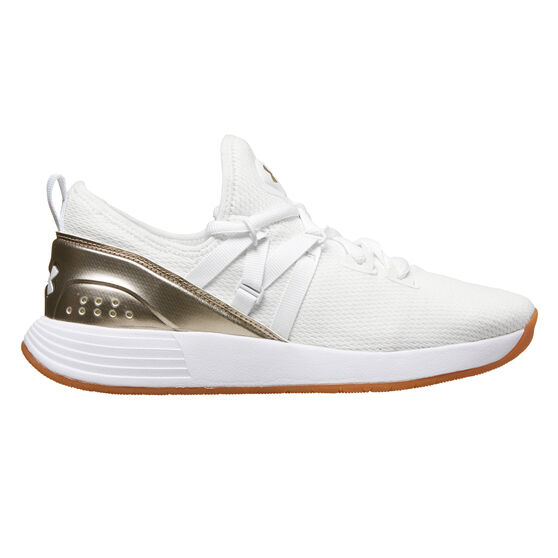 Under Armour Breathe Trainer Womens Training Shoes, White / Gold, rebel_hi-res