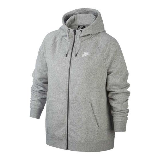 Nike Womens Sportswear Essentials Full Zip Hoodie Plus, Grey, rebel_hi-res