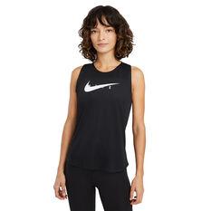 Nike Womens Swoosh Run Tank Black XS, Black, rebel_hi-res