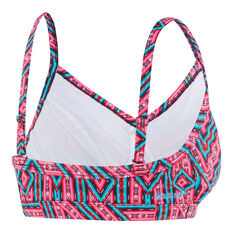 Speedo Womens Ziggy D / DD Crop Swim Top Pink / Aqua 8, Pink / Aqua, rebel_hi-res