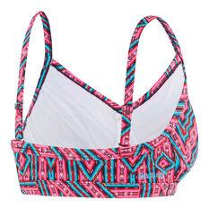 Speedo Womens Ziggy D / DD Crop Swim Top Pink / Aqua 10, Pink / Aqua, rebel_hi-res