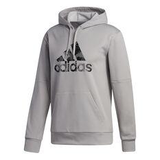 adidas Mens Go Big Badge of Sport Hoodie Grey M, Grey, rebel_hi-res
