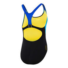 Speedo Girls Sport Image One-Piece Swimsuit Black / Blue 6, Black / Blue, rebel_hi-res