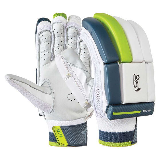 Kookaburra Kahuna Pro 1000 Junior Cricket Batting Gloves, White / Green, rebel_hi-res