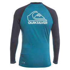 Quiksilver Mens On Tour Long Sleeve Rash Vest Blue/White S, Blue/White, rebel_hi-res