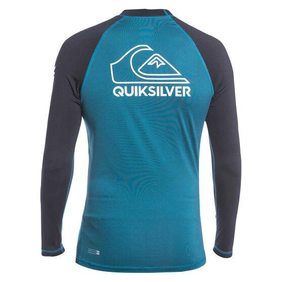 Quiksilver Mens On Tour Long Sleeve Rash Vest, Blue/White, rebel_hi-res