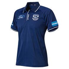 Geelong Cats 2019 Mens Media Polo Blue S, Blue, rebel_hi-res