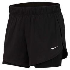 Nike Womens Dri-Fit Flex 2 in 1 Training Shorts Black / White XS, Black / White, rebel_hi-res