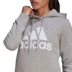 adidas Womens Loungewear Essentials Logo Fleece Hoodie, Grey, rebel_hi-res