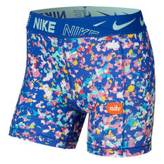 Nike Girls Boy Leg Shorts Blue / Print XS, Blue / Print, rebel_hi-res