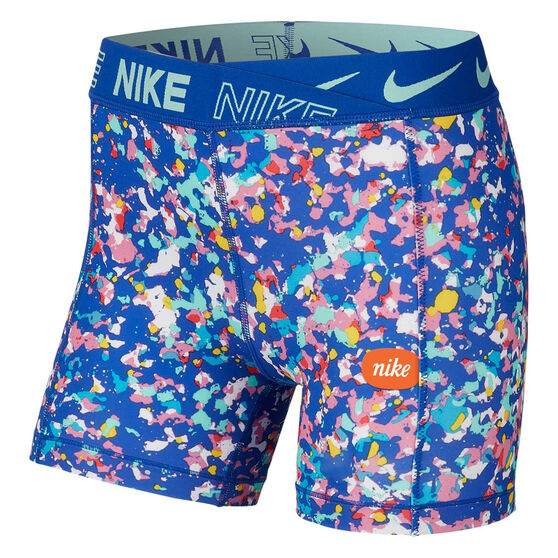 Nike Girls Boy Leg Shorts Blue / Print XL, Blue / Print, rebel_hi-res