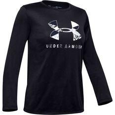 Under Armour Girls Big Logo Graphic Long Sleeve Tee Black / White XS, Black / White, rebel_hi-res