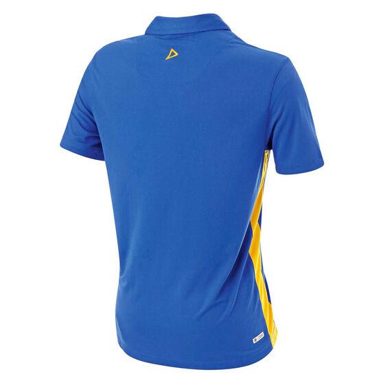 West Coast Eagles 2019 Mens Player Polo, Blue / Yellow, rebel_hi-res