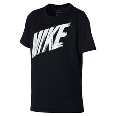 Nike Boys Dri-FIT Short Sleeve Training Tee Black / White XS, Black / White, rebel_hi-res