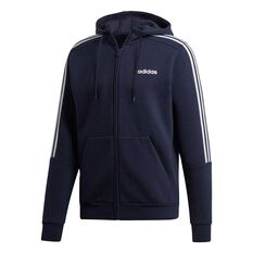 adidas Mens 3 Stripe Fleece Hoodie Blue / White XS, , rebel_hi-res