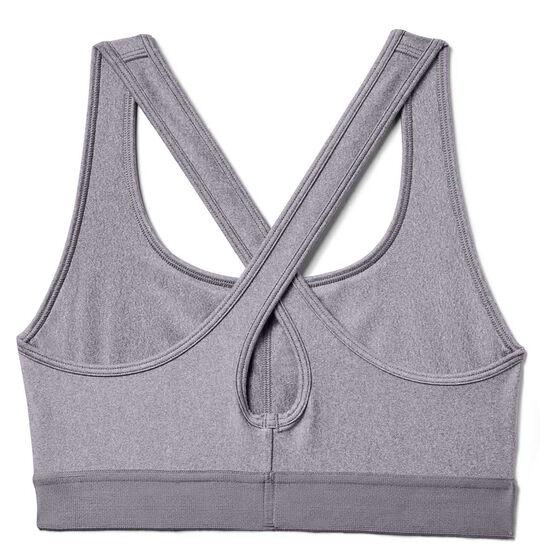 Under Armour Womens Crossback Heather Sports Bra, Grey, rebel_hi-res