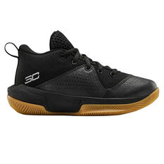 Under Armour SC 3ZERO IV Kids Basketball Shoes Black/Gum US 11, Black/Gum, rebel_hi-res