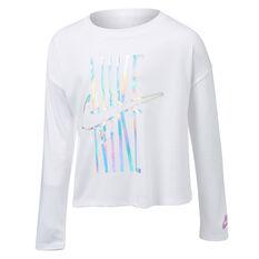 Nike Girls Iridescent Futura Long Sleeve Tee White 4, White, rebel_hi-res